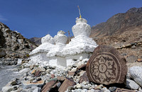 White stupas and mani stone, Diskit, Ladakh, India