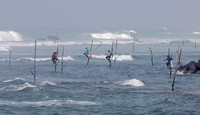 Stilt fishermen and surf, Welligama, Sri Lanka