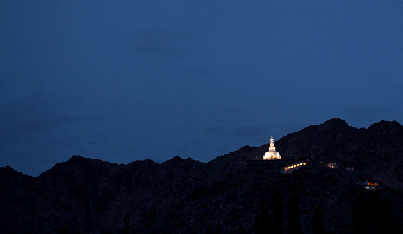 Shanti Stupa at dusk, Leh, Ladakh, India