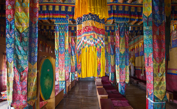 Assembly hall for monks, Diskit monastery, Nubra valley, Ladakh, India