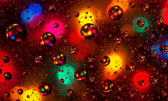 Christmas lights and water droplets abstract