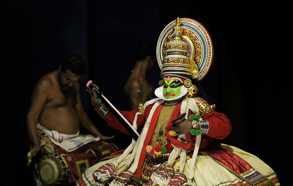 Kathakali performer with sword, Cochin, Kerala, India