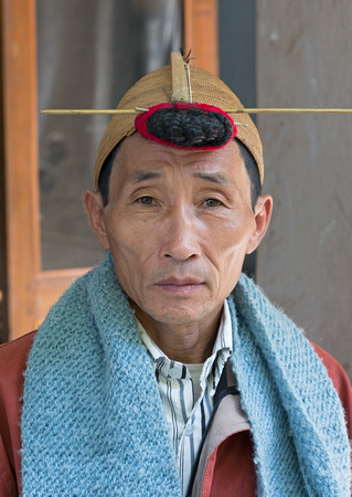 Nyishi tribal man portrait, Ziro, Arunachal Pradesh, India