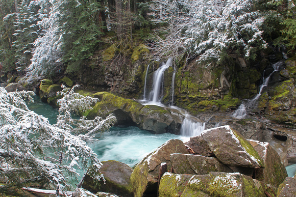 Ohanepecosh River with waterfalls and snow, Gifford Pinchot National Forest, Washington