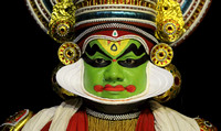Kathakali performer closeup, Cochin, Kerala, India