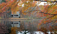 Island cabin and fall colors, Beacon Falls, Connecticut